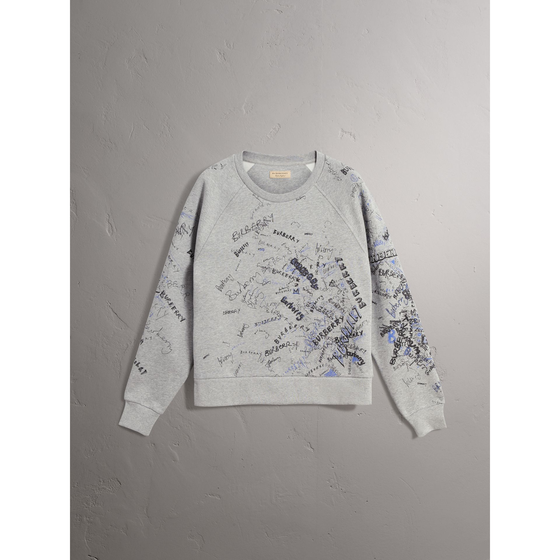 Doodle Print Cotton Blend Jersey Sweatshirt in Pale Grey Melange - Women | Burberry Australia - gallery image 3