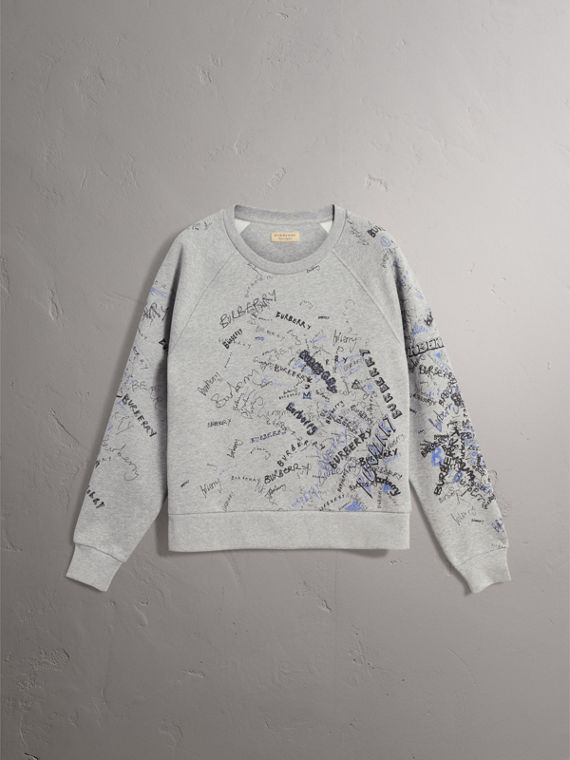 Doodle Print Cotton Blend Jersey Sweatshirt in Pale Grey Melange