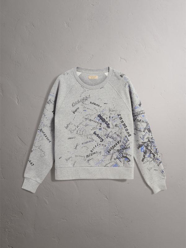 Doodle Print Cotton Blend Jersey Sweatshirt in Pale Grey Melange - Women | Burberry - cell image 3