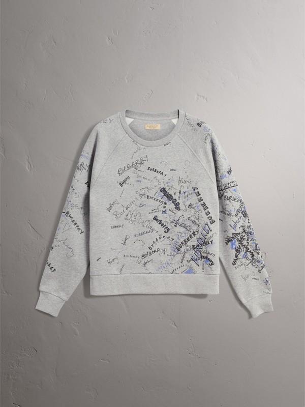 Felpa in jersey di misto cotone con disegni stampati (Grigio Pallido Mélange) - Donna | Burberry - cell image 3