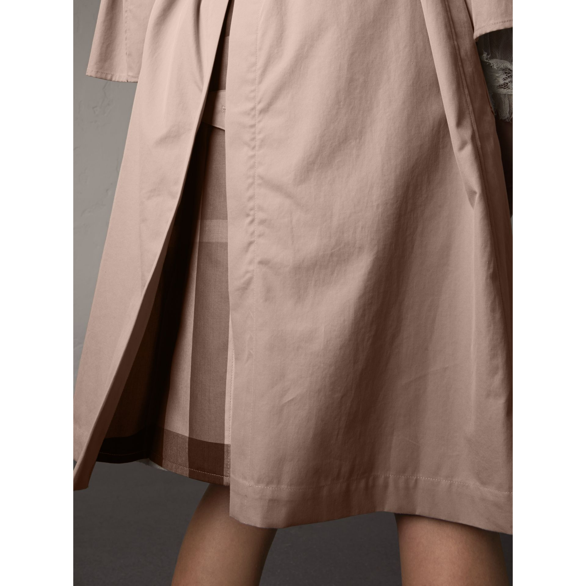Flared Sleeve Tropical Gabardine Trench Coat in Antique Taupe Pink - Women | Burberry - gallery image 5
