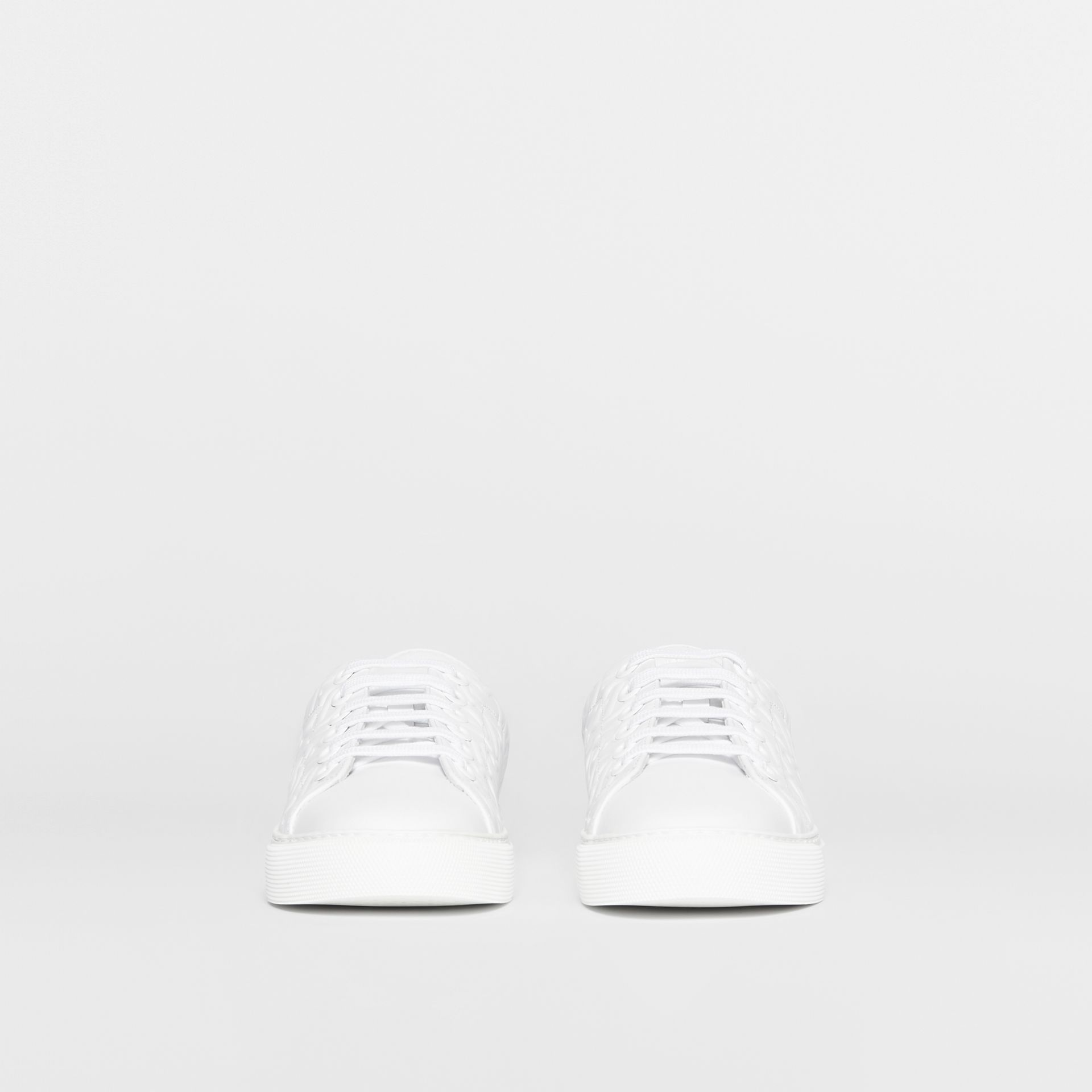 Monogram Leather Sneakers in White - Women | Burberry United States - gallery image 3