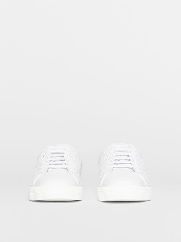 Monogram Leather Sneakers in White - Women | Burberry - cell image 3