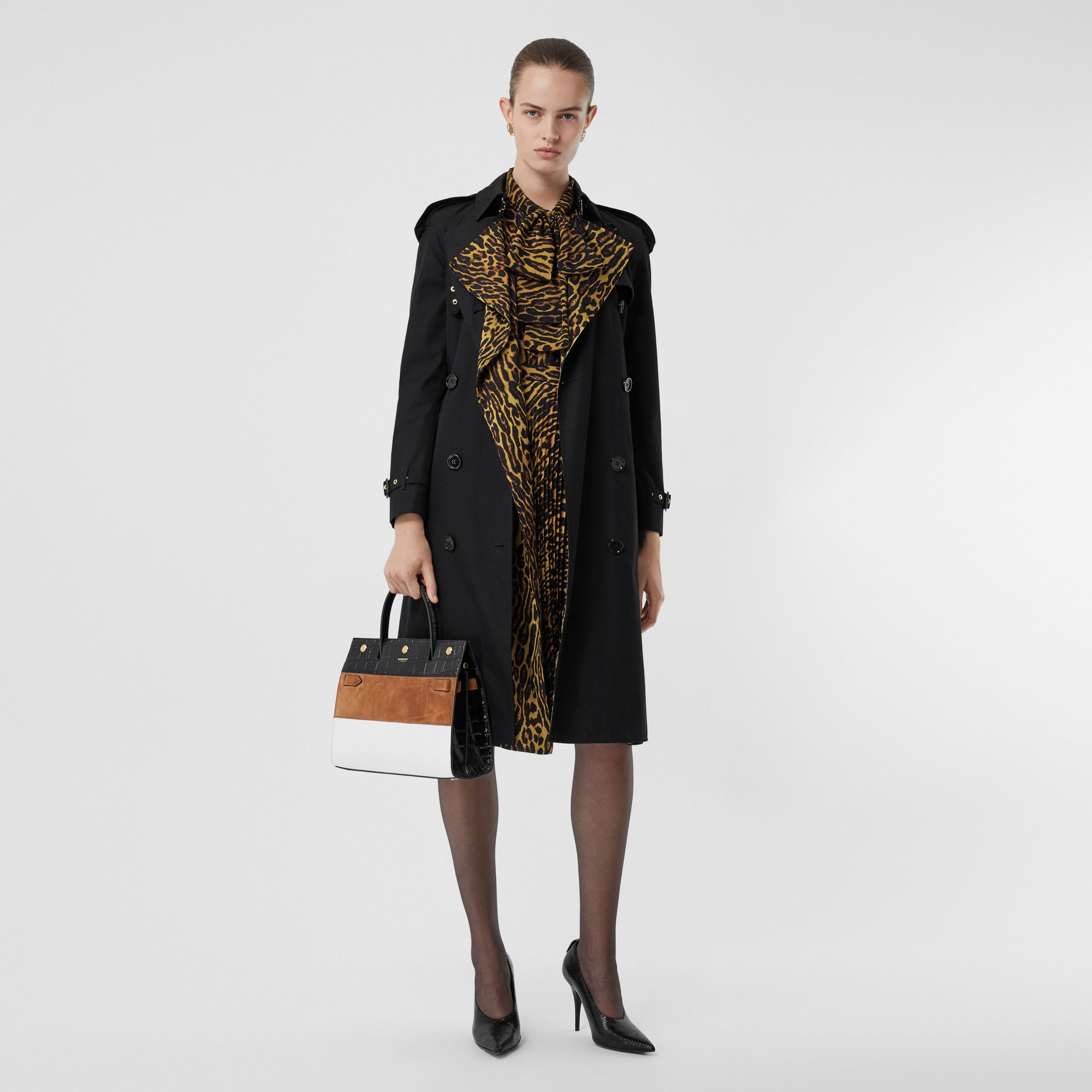 Leopard Print-lined Cotton Gabardine Trench Coat in Black - Women | Burberry - 1