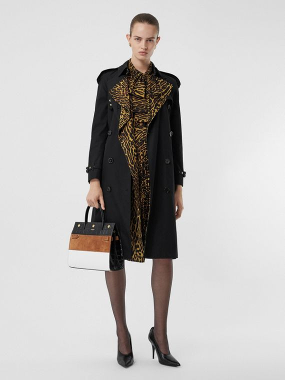 Leopard Print-lined Cotton Gabardine Trench Coat in Black
