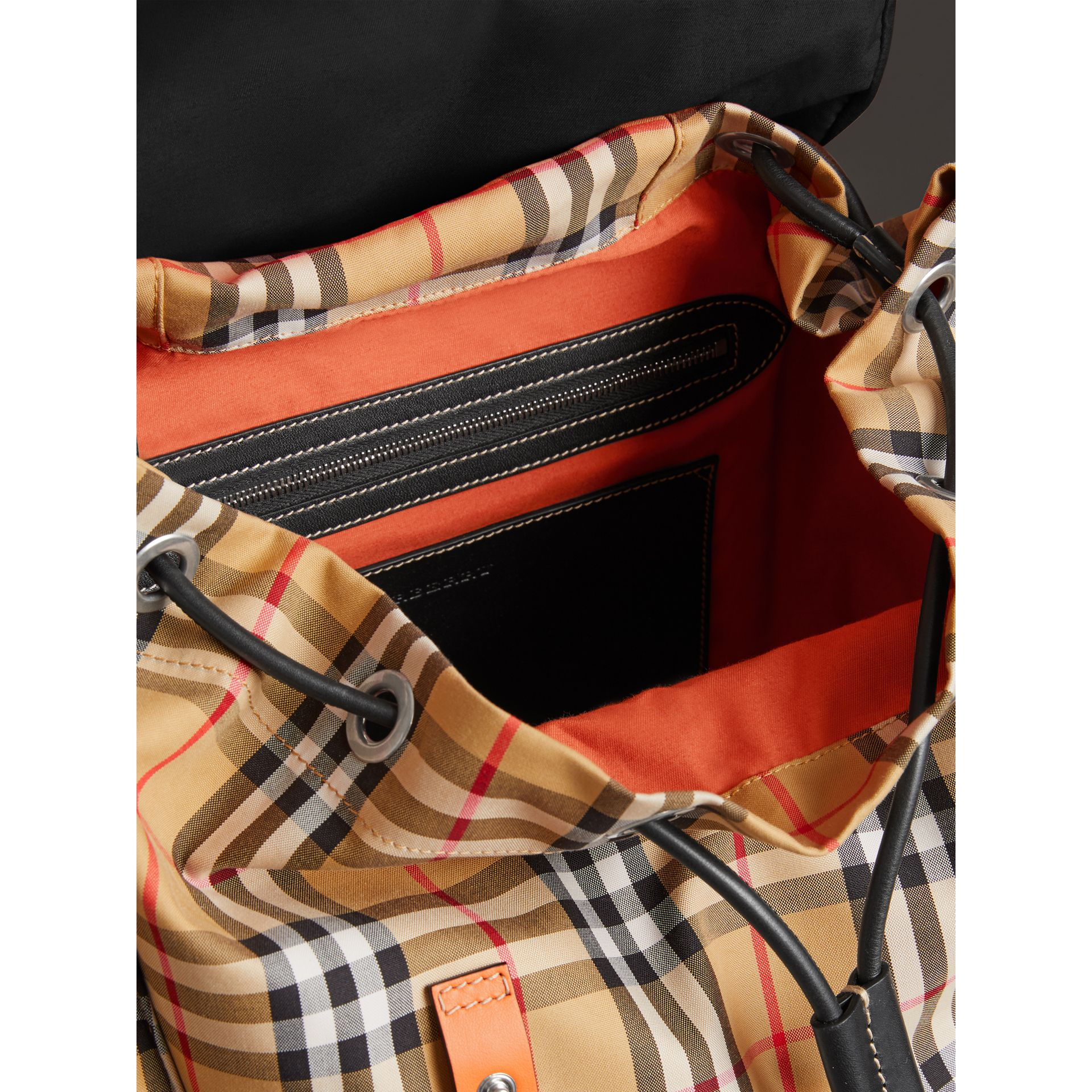 Vintage Check and Leather Backpack in Clementine - Men | Burberry United States - gallery image 5