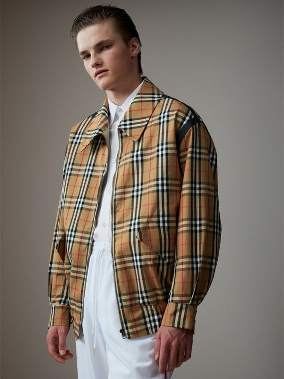 Vintage Check Gabardine Harrington Jacket in Antique Yellow