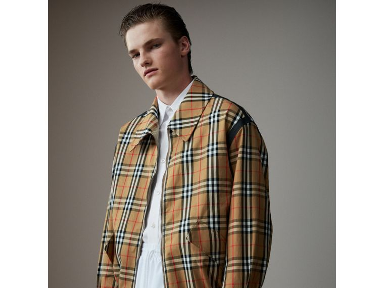 Vintage Check Gabardine Harrington Jacket in Antique Yellow - Men | Burberry - cell image 4