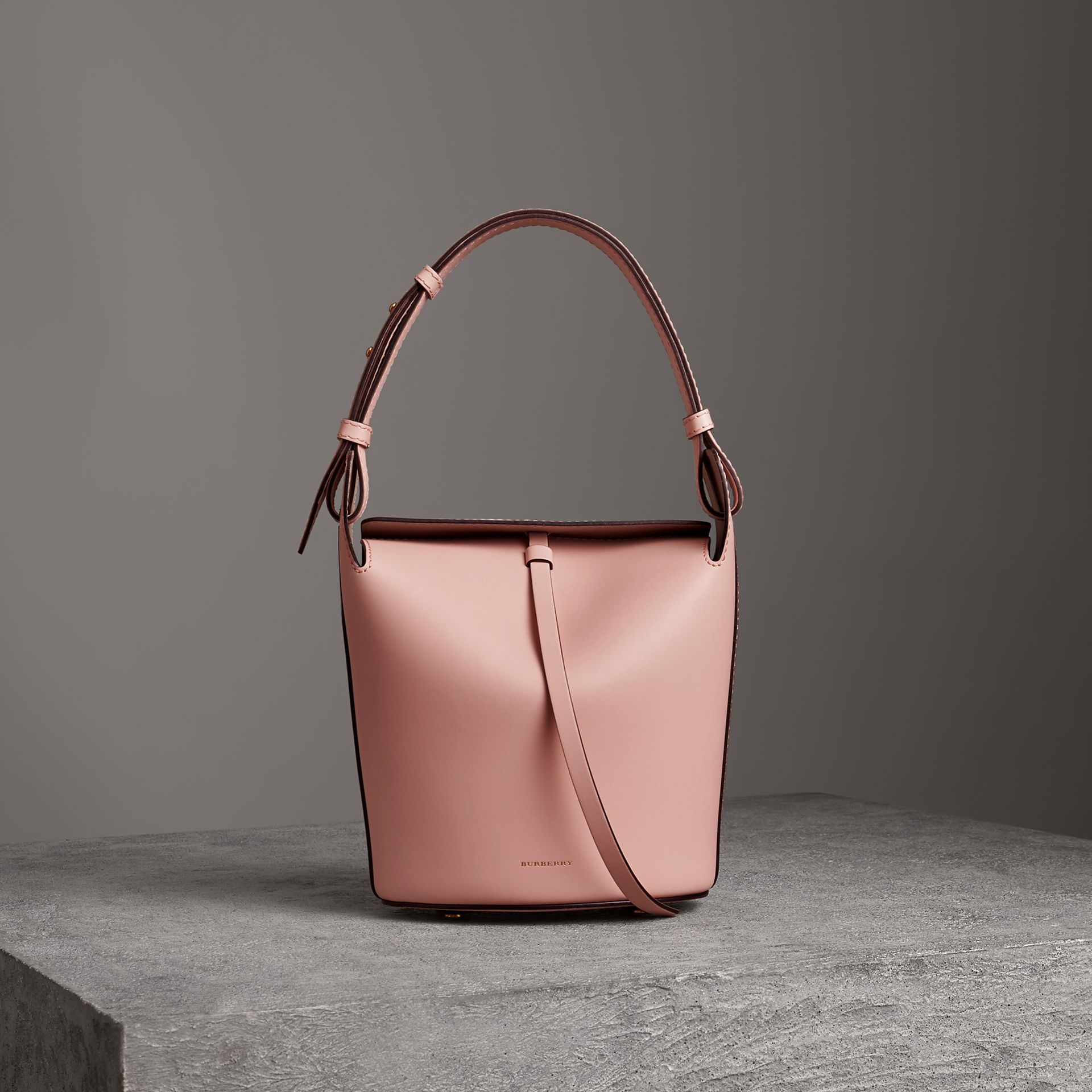 The Small Leather Bucket Bag in Pale Ash Rose - Women | Burberry - gallery image 0