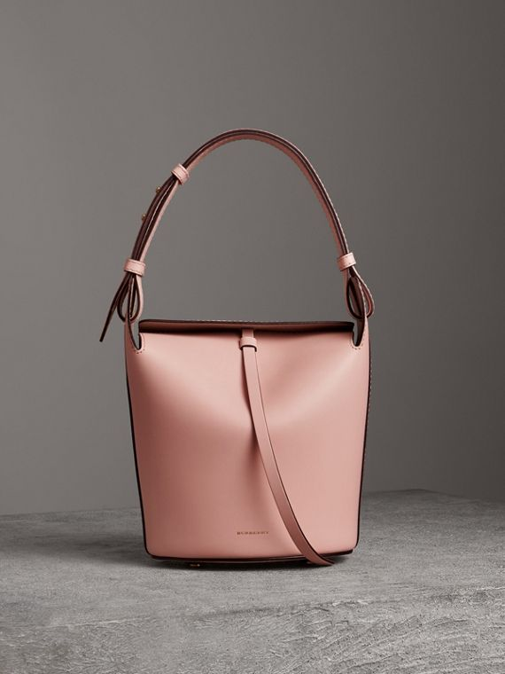 The Small Leather Bucket Bag in Pale Ash Rose