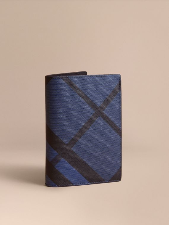 London Check and Leather Passport Holder in Bright Lapis