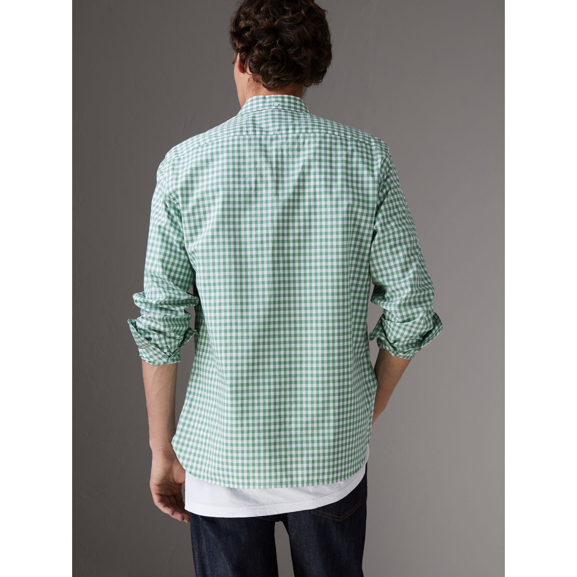 Button-down Collar Gingham Cotton Shirt in Pale Tourmaline - Men | Burberry United Kingdom - gallery image 2