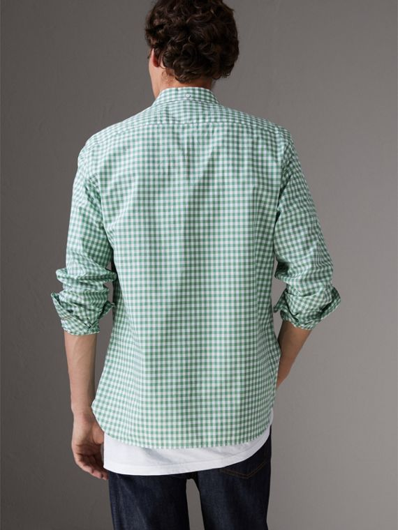 Button-down Collar Gingham Cotton Shirt in Pale Tourmaline - Men | Burberry United Kingdom - cell image 2