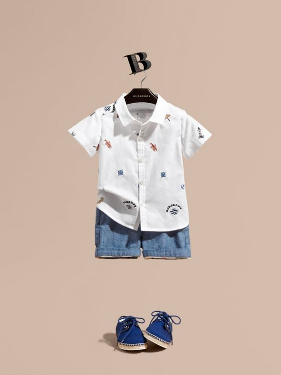 Embroidered Nautical Motif Cotton Oxford Shirt in White