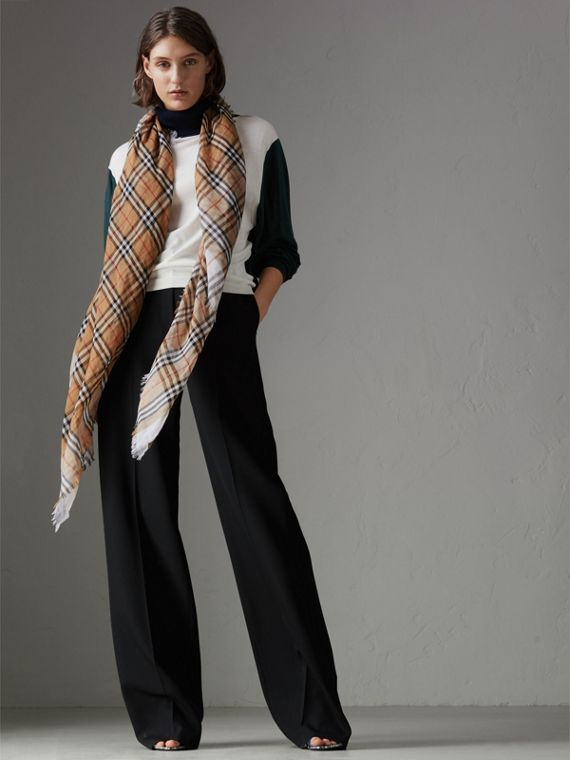 Two-tone Vintage Check Cotton Square Scarf in White | Burberry - cell image 2