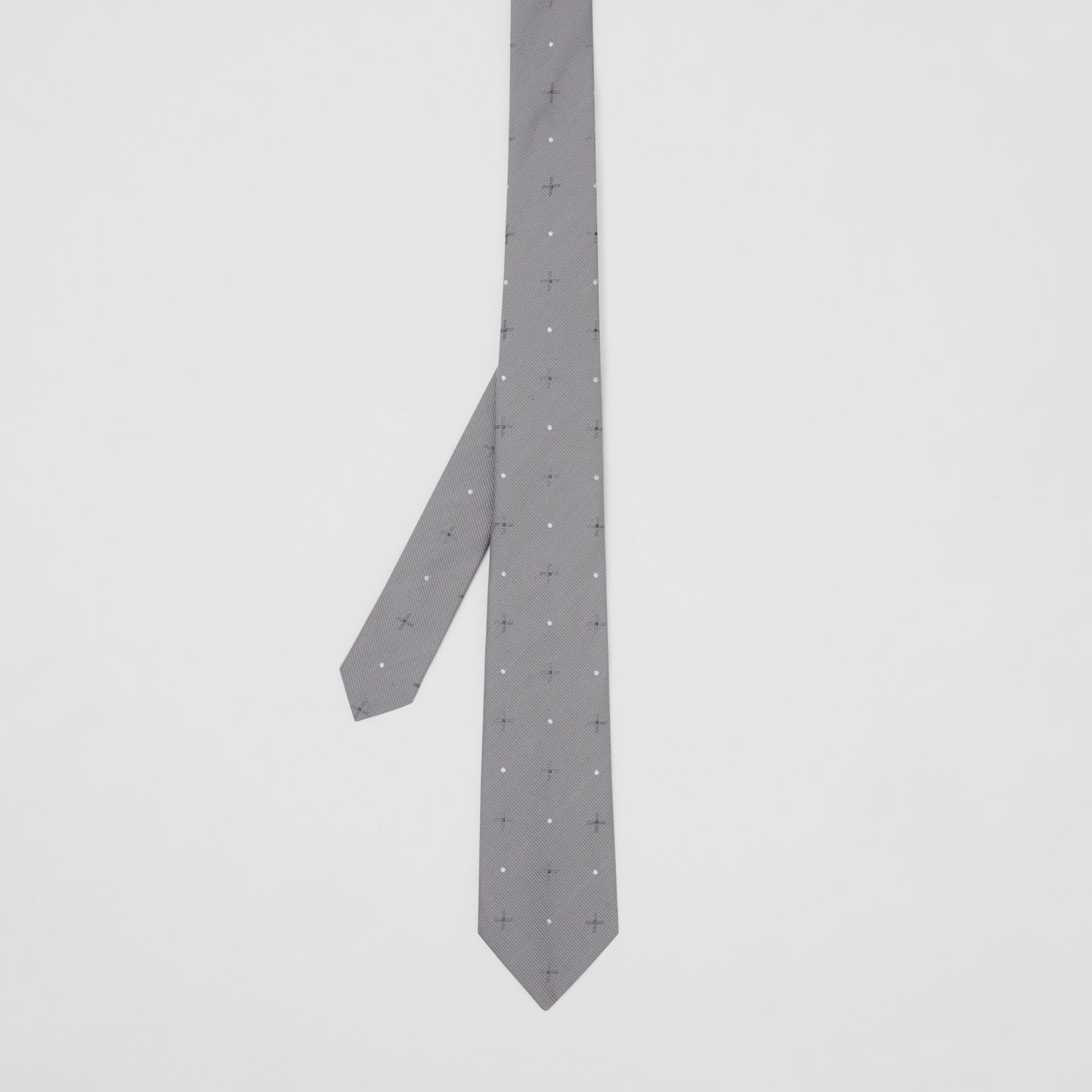 Classic Cut Graphic Silk Wool Jacquard Tie in Mid Grey - Men | Burberry United States - gallery image 4