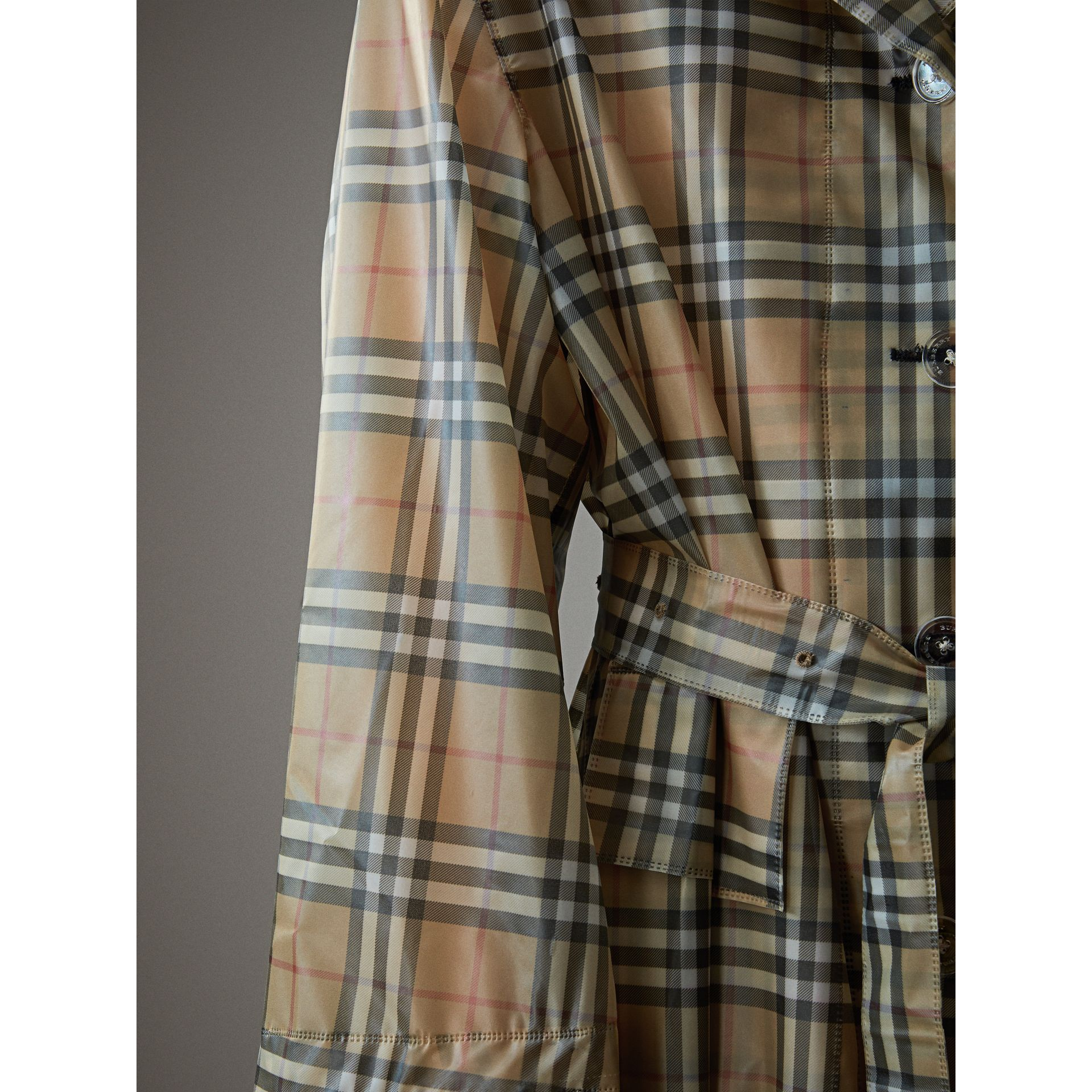 Vintage Check Soft-touch Plastic Single-breasted Coat in Antique Yellow - Women | Burberry Singapore - gallery image 1