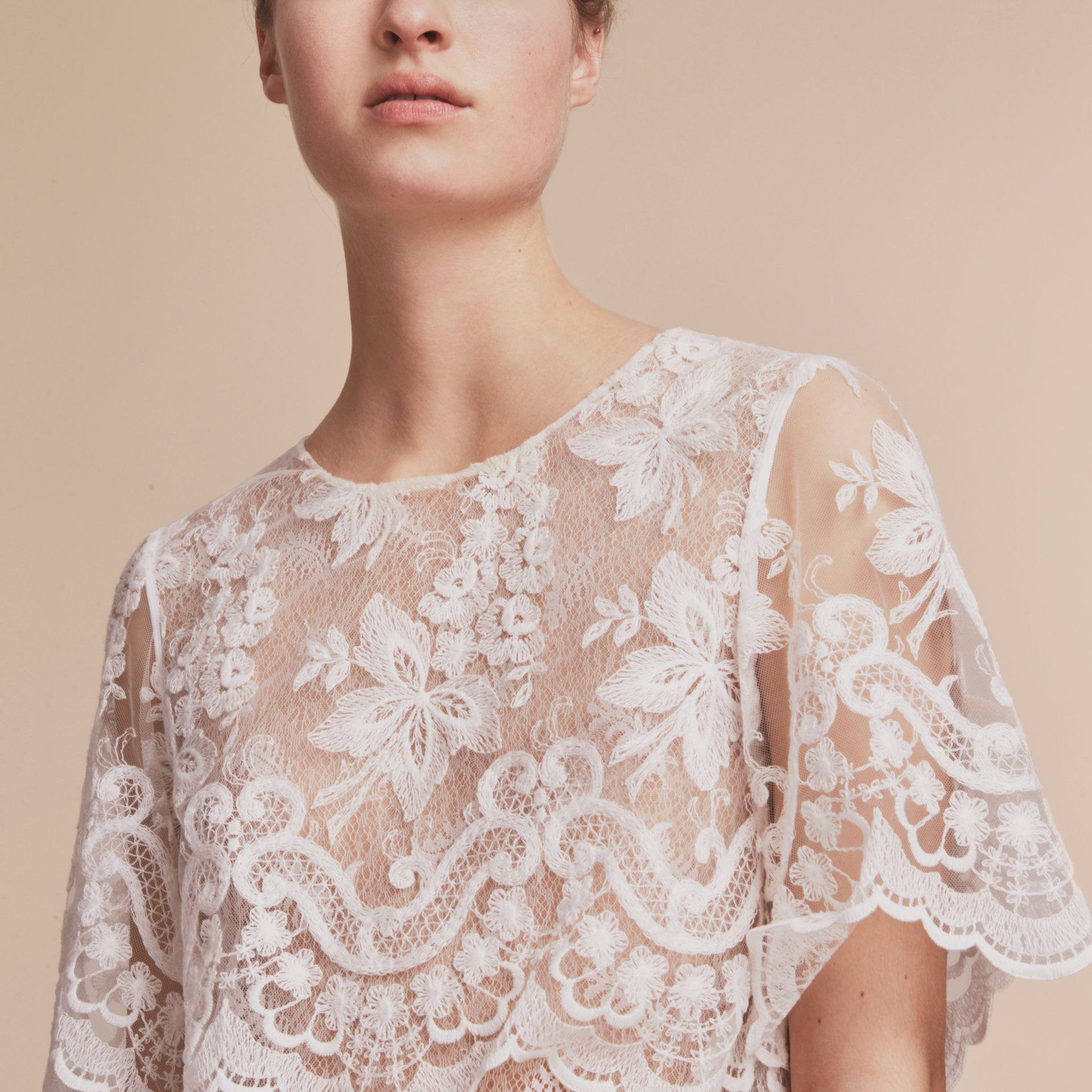 Layered Lace Shift Dress in White - Women | Burberry - gallery image 5