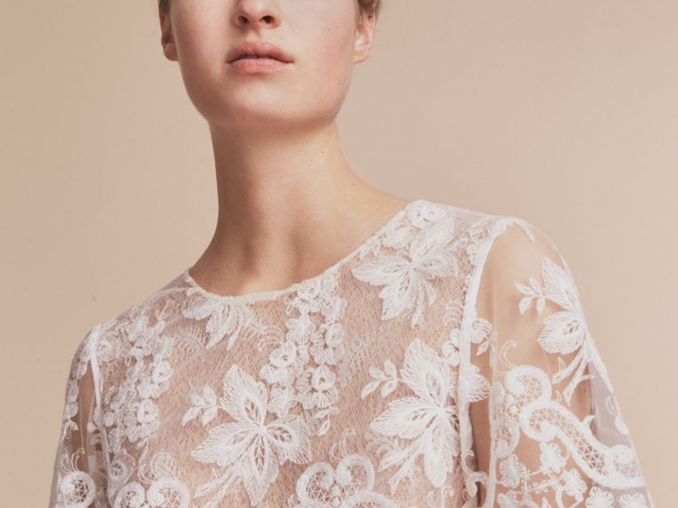 Layered Lace Shift Dress in White - Women | Burberry - cell image 4