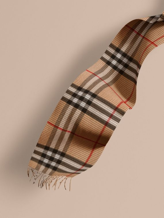 The Classic Cashmere Scarf in Check with Topstitch Detail Camel