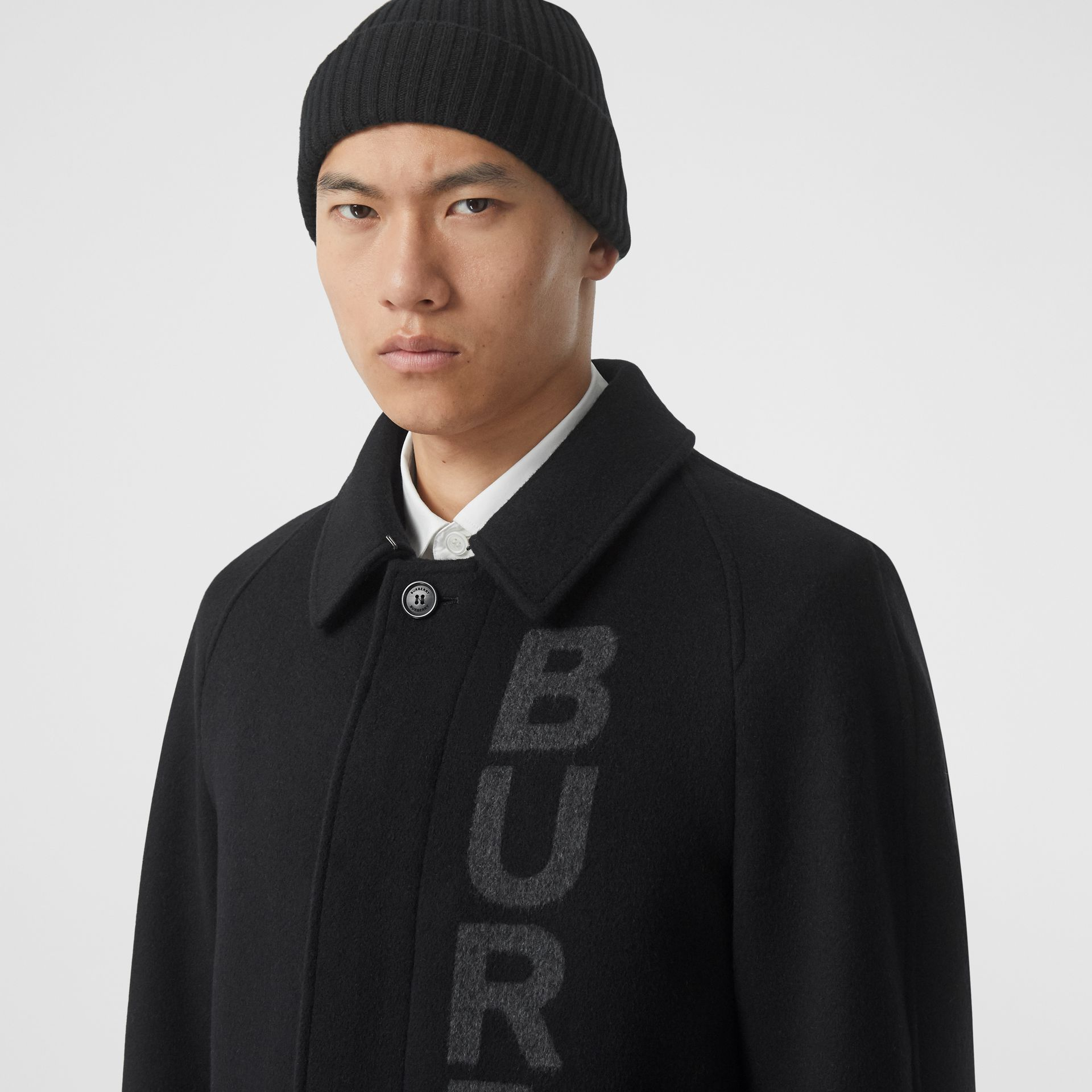 Logo Wool Cashmere Jacquard Car Coat in Black - Men | Burberry - gallery image 1