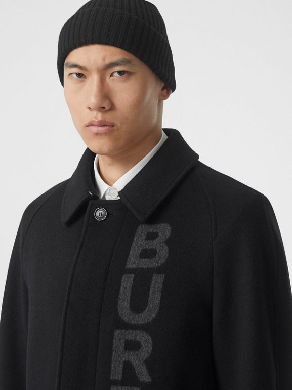 Logo Wool Cashmere Jacquard Car Coat in Black - Men | Burberry - cell image 1