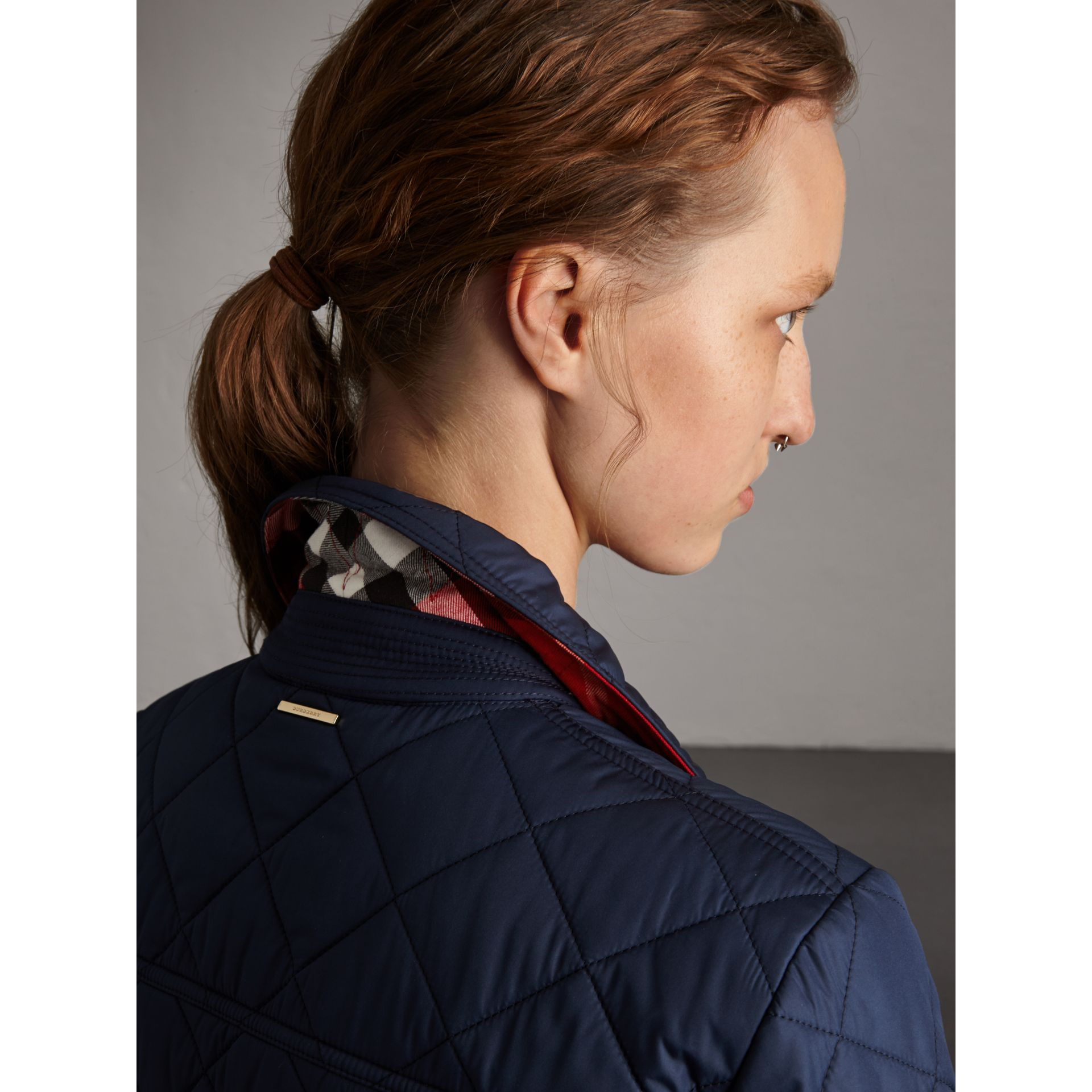 Check Detail Diamond Quilted Jacket in Navy - Women | Burberry Singapore - gallery image 1