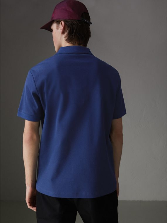 Triple Archive Logo Cotton Piqué Polo Shirt in Bright Indigo - Men | Burberry - cell image 2