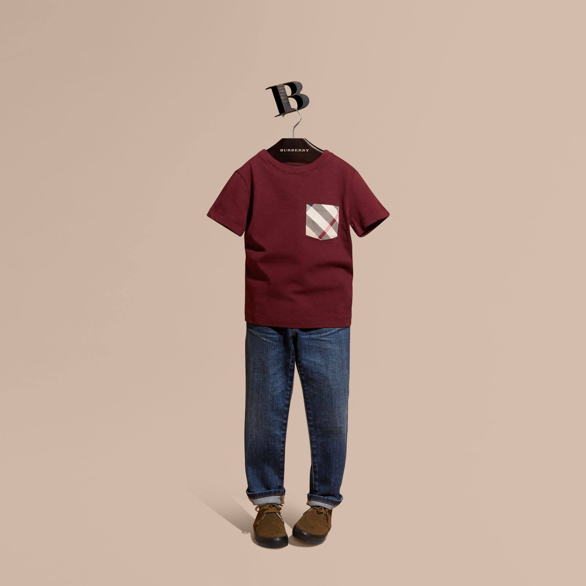 Burgundy red Check Pocket T-Shirt Burgundy Red - gallery image 1