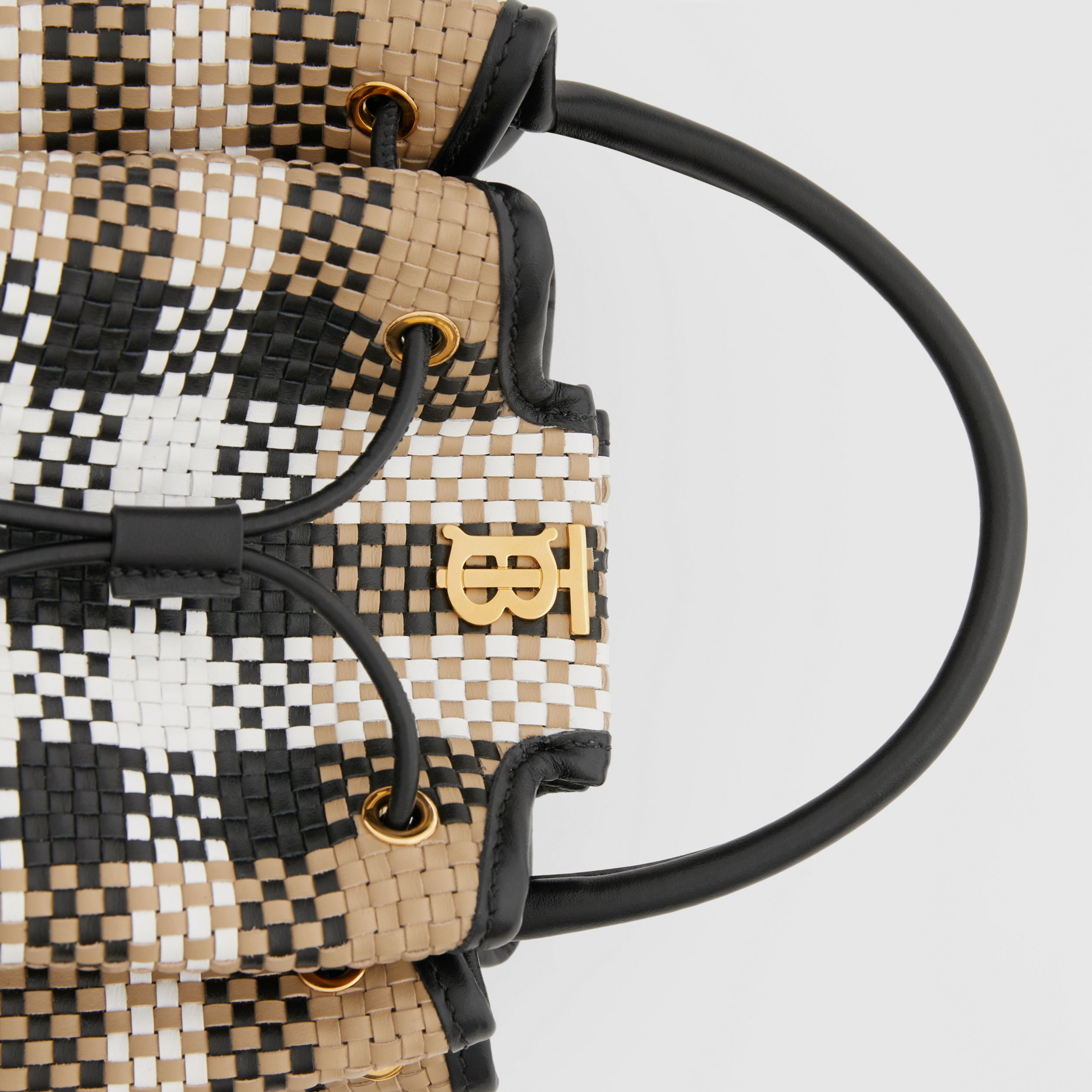 Monogram Motif Latticed Leather Bucket Bag in Archive Beige - Women | Burberry - 2