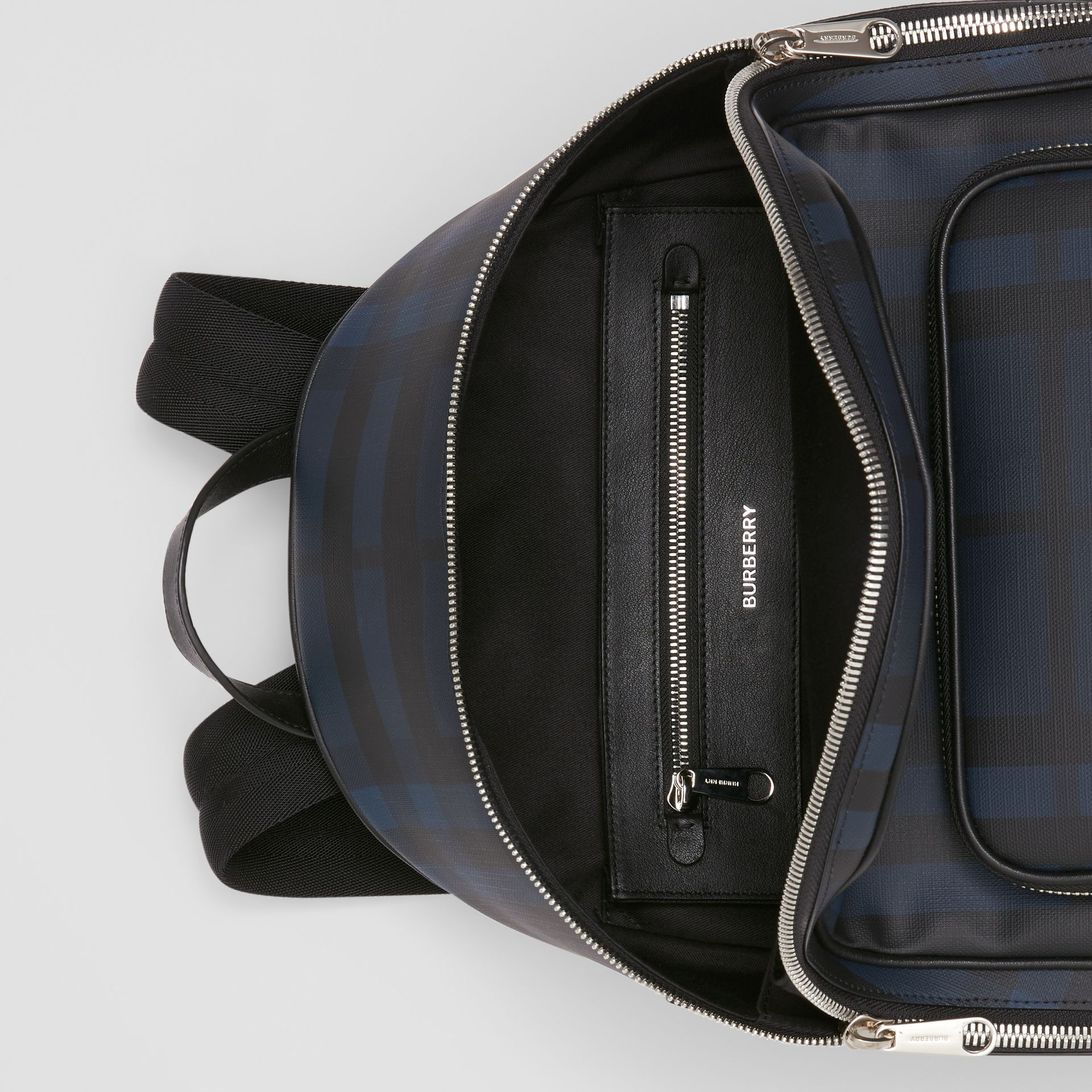 London Check and Leather Backpack in Navy | Burberry - gallery image 5