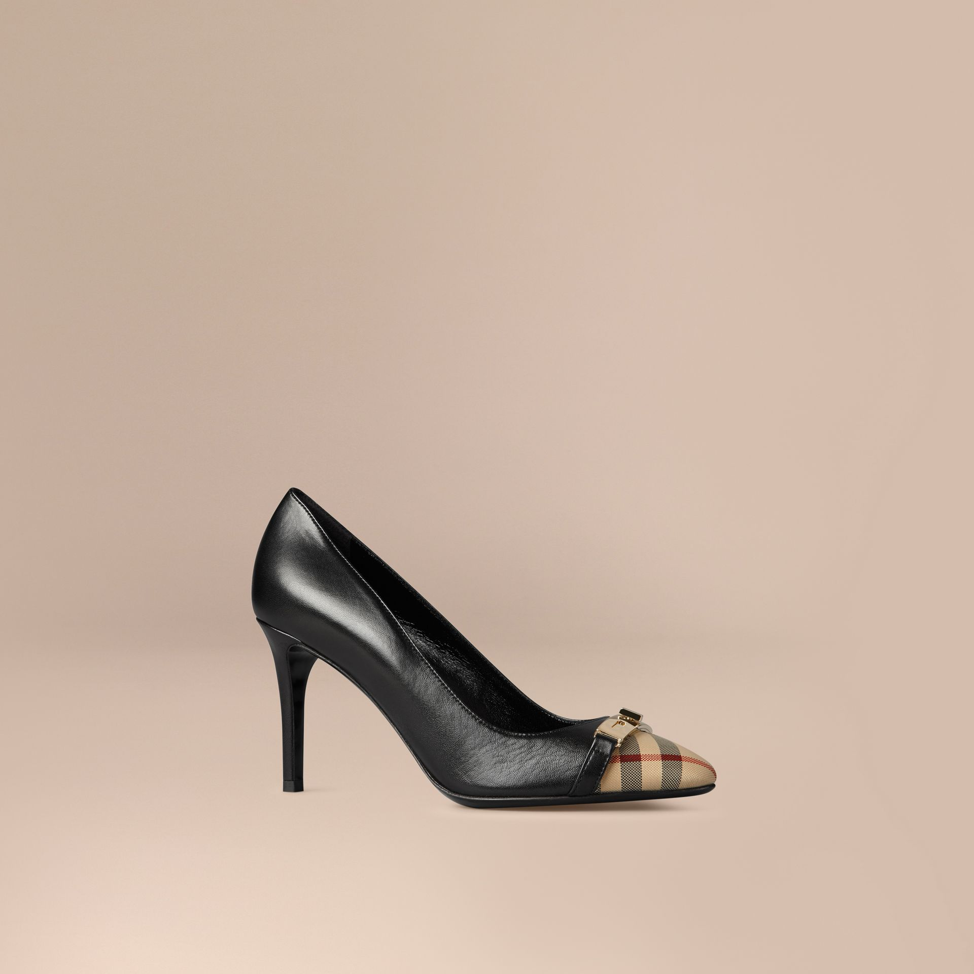 Horseferry Check Leather Pumps in Black - gallery image 1