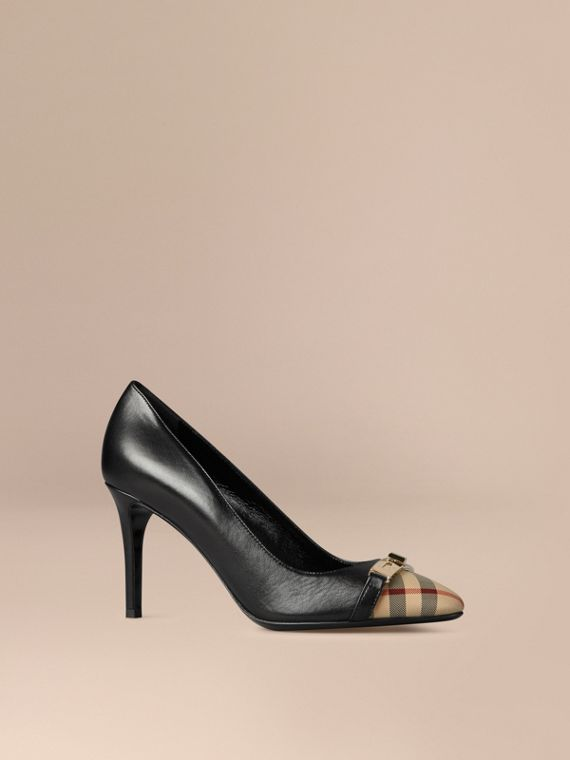 Horseferry Check Leather Pumps in Black - Women | Burberry