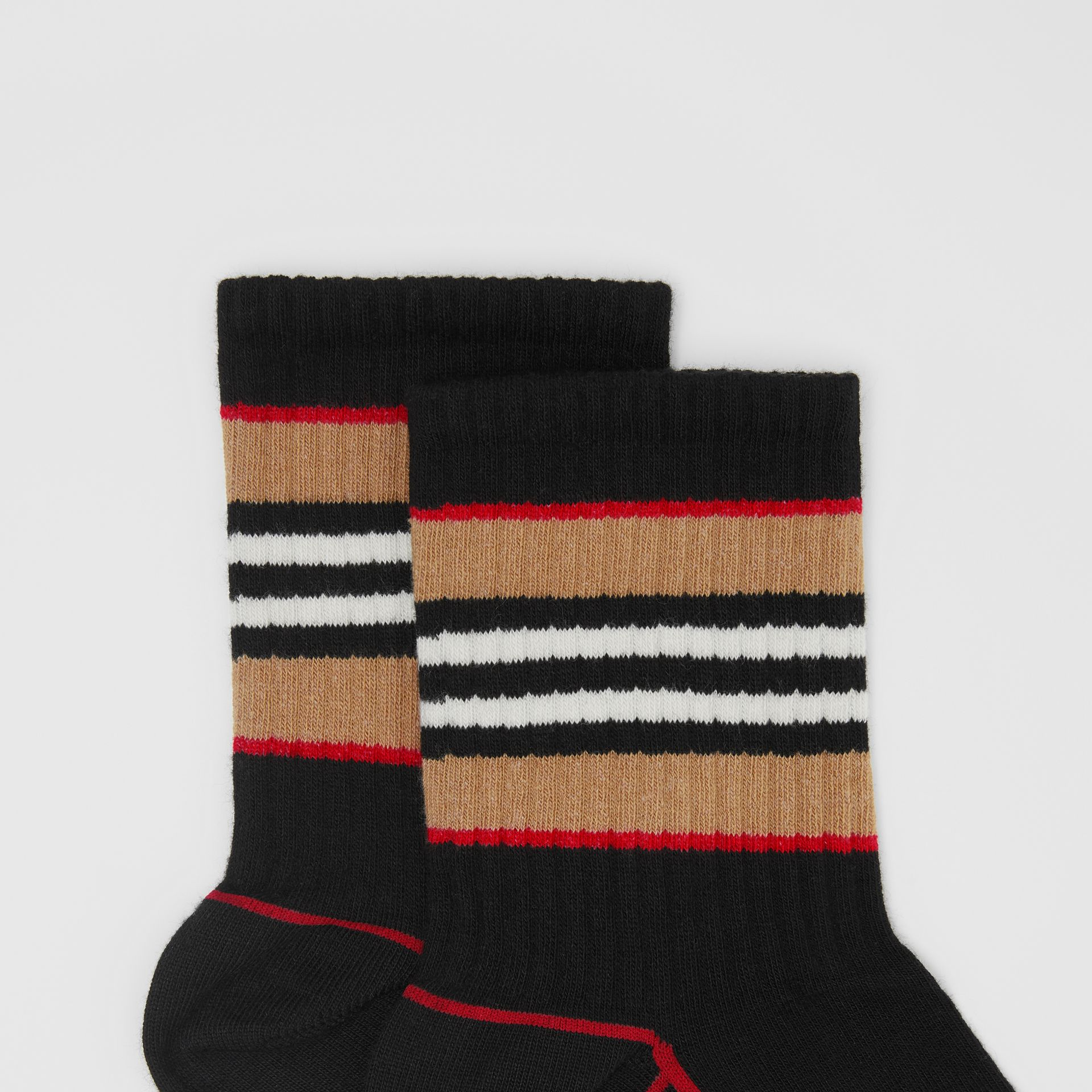 Icon Stripe Intarsia Cotton Blend Ankle Socks in Black | Burberry - gallery image 1