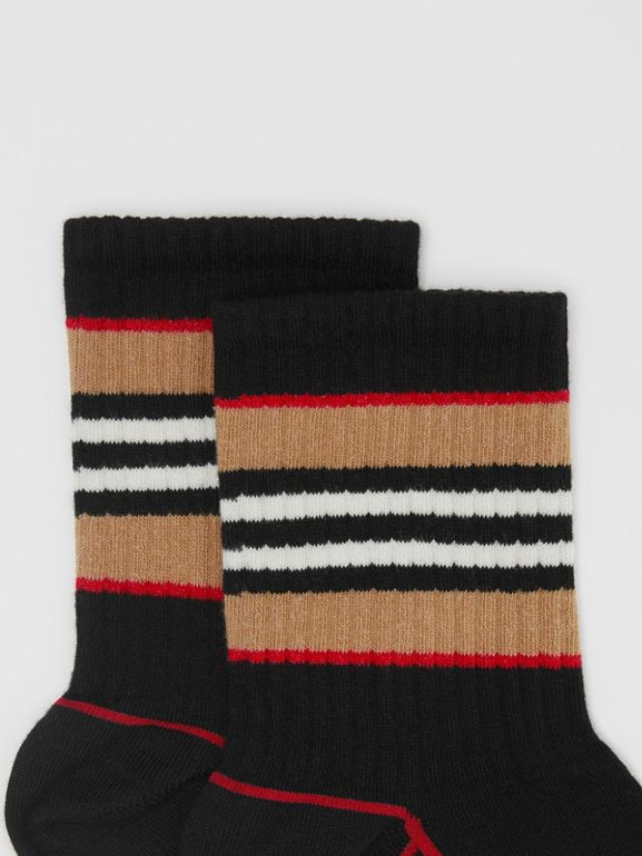 Icon Stripe Intarsia Cotton Blend Ankle Socks in Black | Burberry - cell image 1
