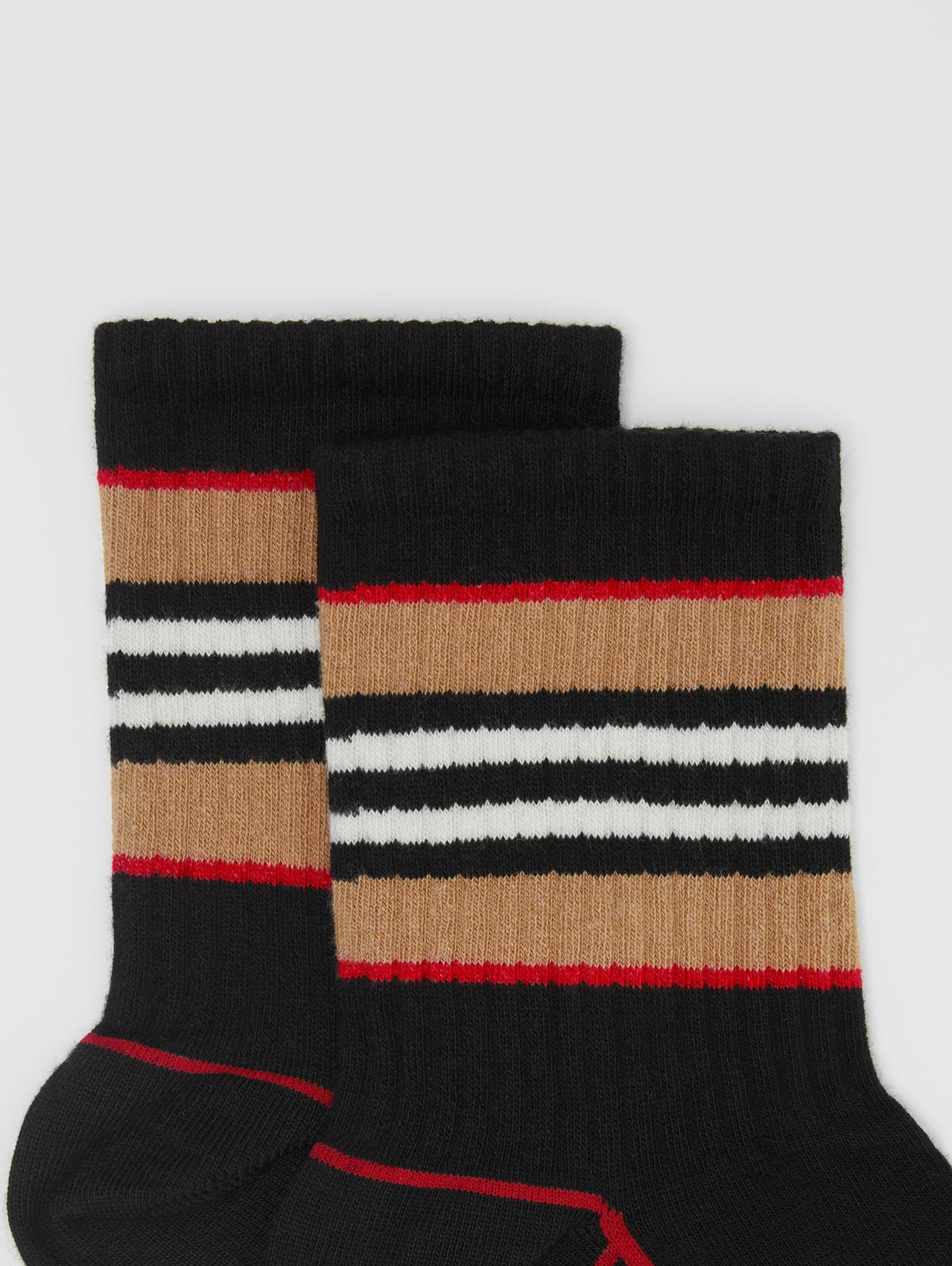 Icon Stripe Intarsia Cotton Blend Ankle Socks in Black