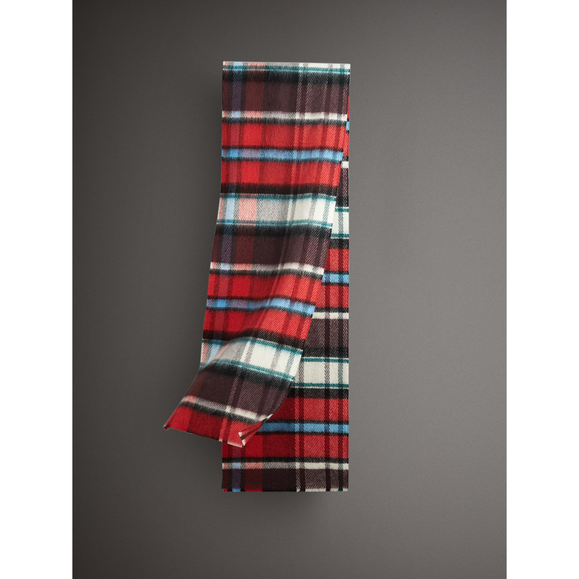 Long Check Wool Mohair Blend Scarf in Red | Burberry - gallery image 0