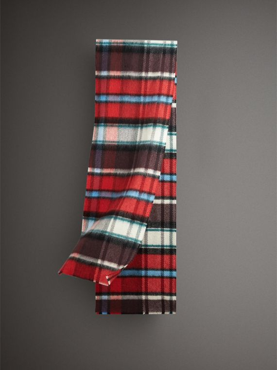 Long Check Wool Mohair Blend Scarf in Red