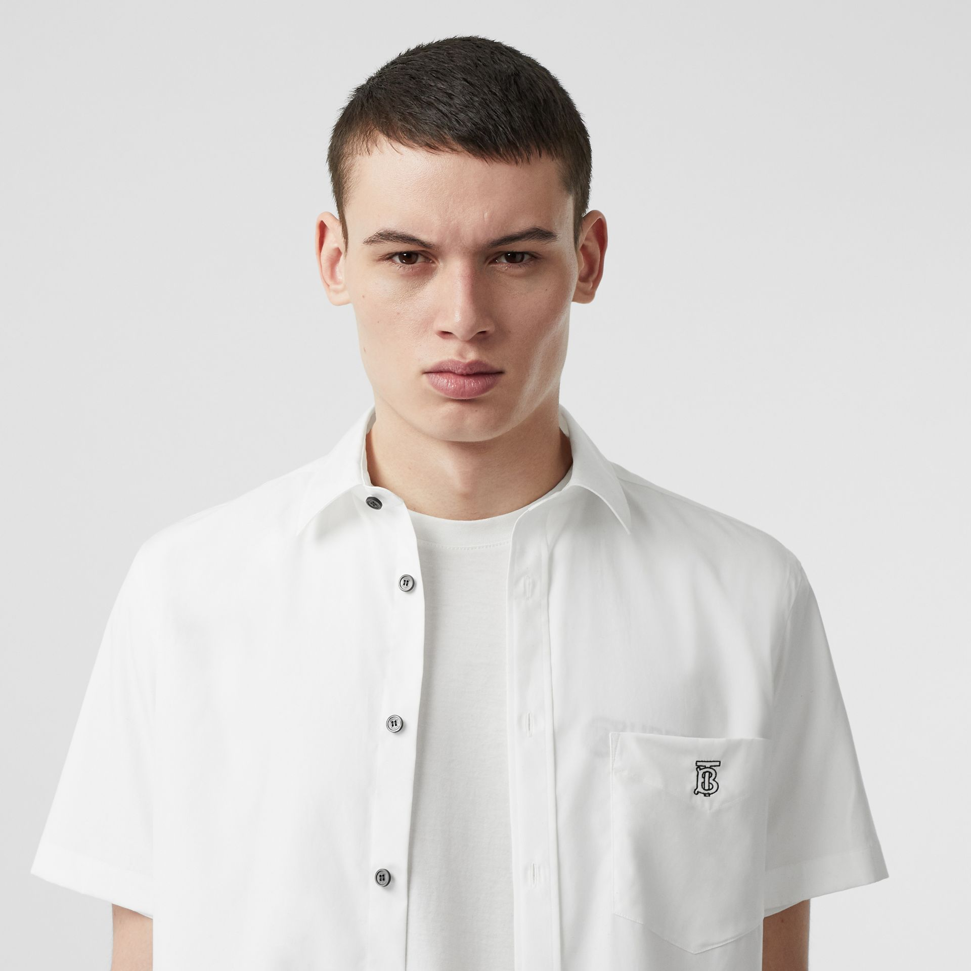 Monogram Motif Stretch Cotton Poplin Shirt in White - Men | Burberry - gallery image 1