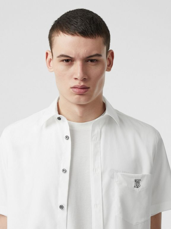 Monogram Motif Stretch Cotton Poplin Shirt in White - Men | Burberry - cell image 1