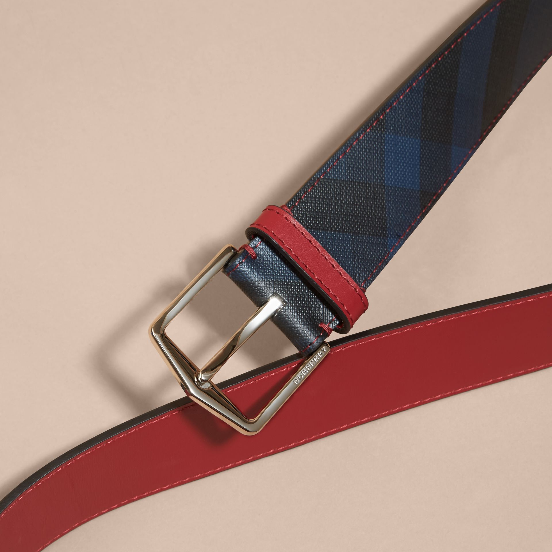 Topstitch Detail Leather Trim London Check Belt in Parade Red - gallery image 2