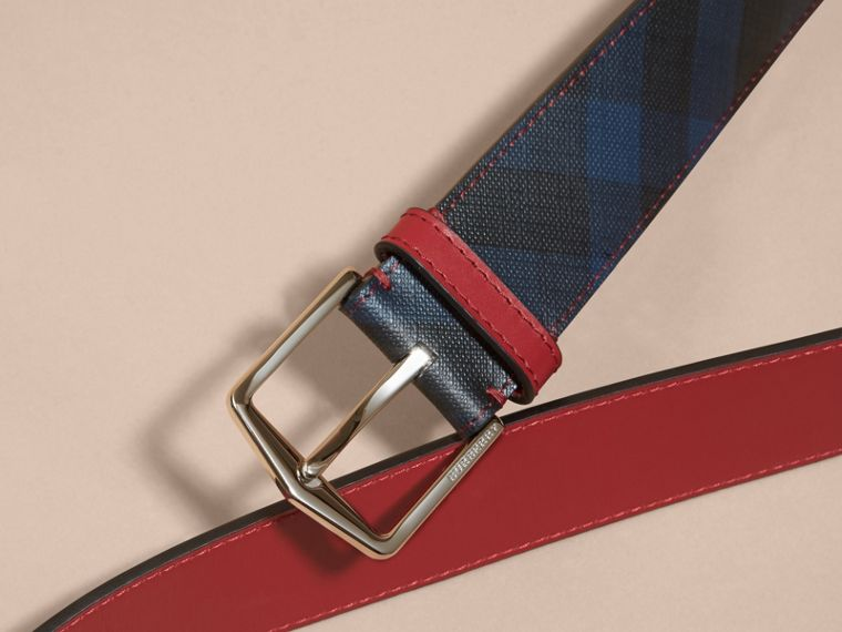 Topstitch Detail Leather Trim London Check Belt in Parade Red - cell image 1