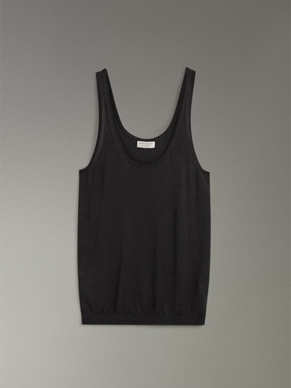 Silk Cashmere Vest in Black - Women | Burberry - cell image 3