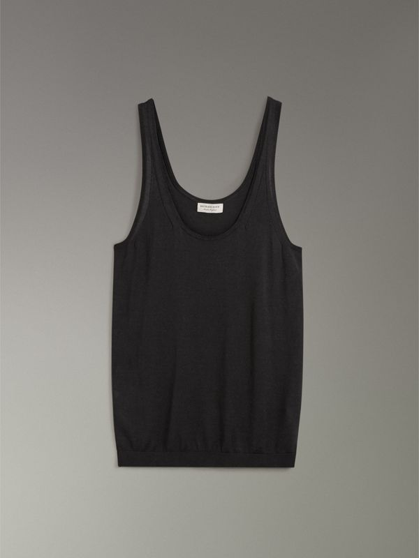 Silk Cashmere Vest in Black - Women | Burberry United States - cell image 3
