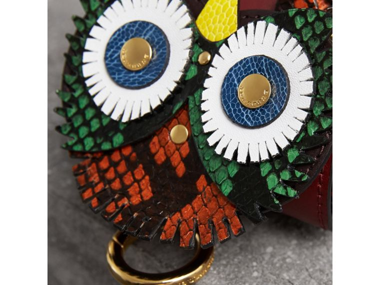 The Owl – Leather and Snakeskin Coin Case in Wine - Women | Burberry - cell image 1