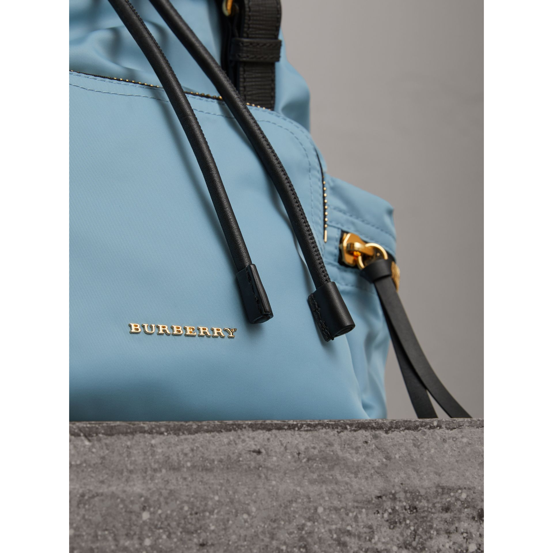 The Medium Rucksack in Technical Nylon and Leather in Pale Bluebell - Women | Burberry United Kingdom - gallery image 1