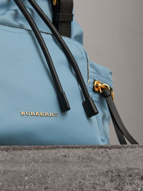 The Medium Rucksack in Technical Nylon and Leather in Pale Bluebell - Women | Burberry United Kingdom - cell image 1