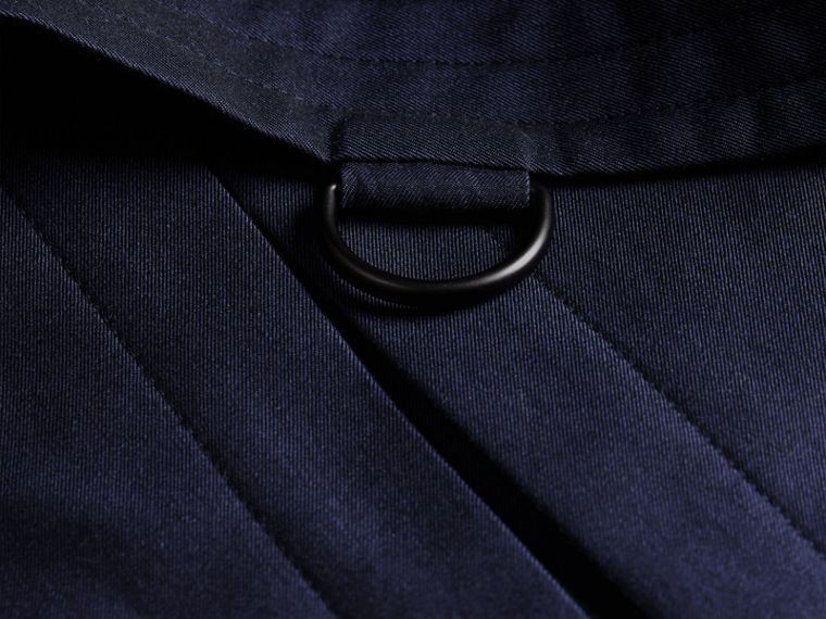 Flint blue Leather Detail Cotton Gabardine Trench Coat - cell image 1