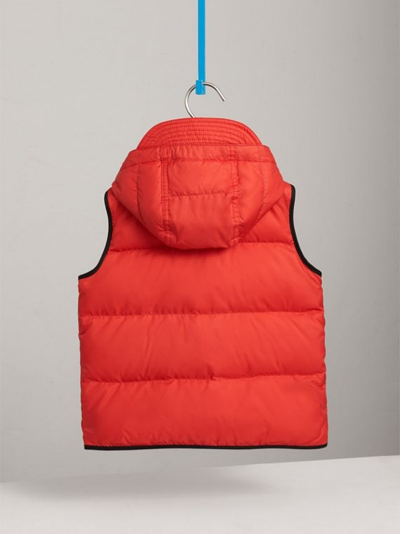 Down-filled Hooded Gilet in Bright Orange Red - Boy | Burberry United Kingdom - cell image 3