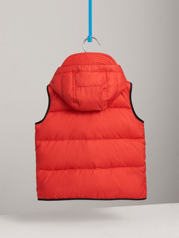 Down-filled Hooded Gilet in Bright Orange Red | Burberry - cell image 3